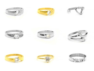 Set of jewelery photos. Rings. Stainless steel.
