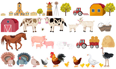 Farm big set collection Vector. Village, animals, tractors, tools illustration