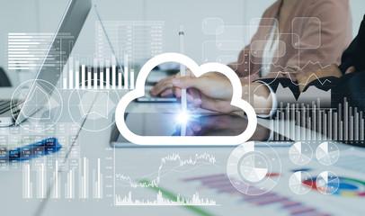 Cloud computing concept. Groupware.