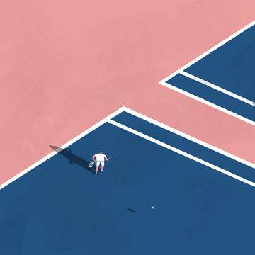 Man serving in tennis long shadows