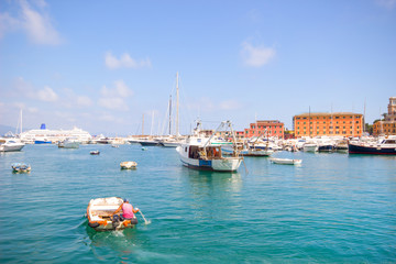 Scenic view in summer in italy fishing village and famous place with luxury cruises.