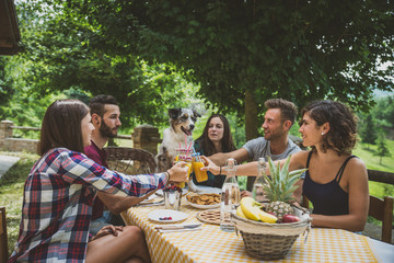 Group of friends spending time making a picnic