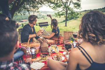 Group of friends spending time making a picnic and a barbeque
