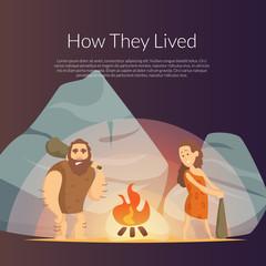 Vector cartoon cavemen background illustration