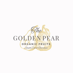 The Golden Pear Abstract Vector Sign, Symbol or Logo Template. Pear with Leaf and Half of Pear Sillhouettes Sketch with Elegant Retro Typography. Vintage Luxury Emblem.