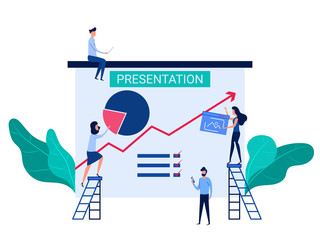 People cooperation prepare business presentation and online training increase sales and skills. Analysis company information concept.