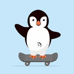 little Penguin on skateboarder