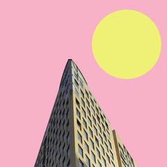 surrealistyczny krajobraz kolaż, współczesne kolory i nastrój społeczny - 212052563