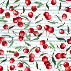 Seamless pattern watercolor berry cherry and leaves. Repeating background. Hand drawn illustration. On a striped background.