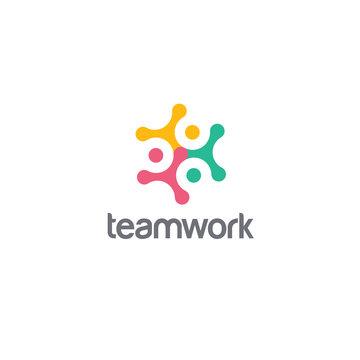 Vector logo design for social media, teamwork