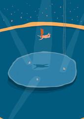 Stunt man jumping into shark pool