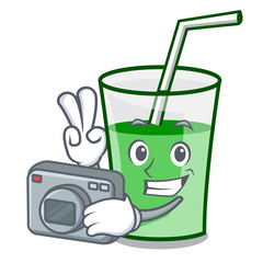 Photographer green smoothie mascot cartoon