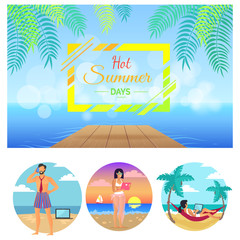 Hot Summer Days Collection Vector Illustration
