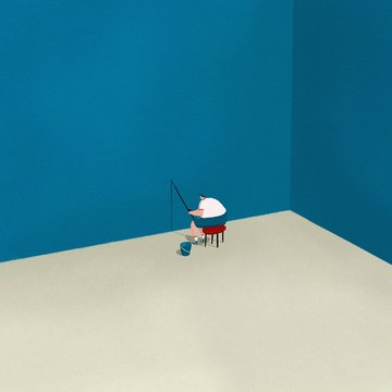 Lonely man fishing for shadows indoors