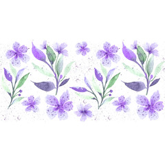 Seamless floral botanical border. Watercolor drawing. Delicate pastel colors. Suitable for fabric, ceramic tile, cover, wrapping paper. Purple and green on white background.