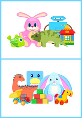 Toys for Kids Collection, Vector Illustration