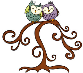 Couple of owl in tree