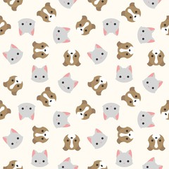 cat and dog head seamless pattern for wallpaper or wrapping paper