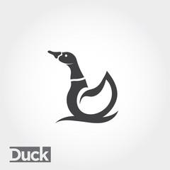 icon swimming duck, swimming duck logo, simple duck