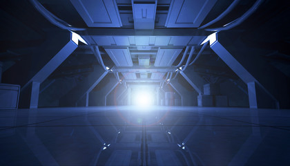 3D rendering of abstract dark blue sci fi futuristic space station or ship interior corridor design. Light at the end of tunnel.