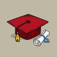 Graduation cap illustration on color background