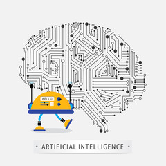 Robot with intelligence artificial concept.