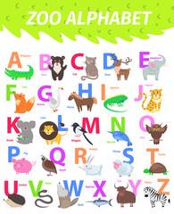 Zoo Alphabet with Cute Animals Cartoon Flat Vector