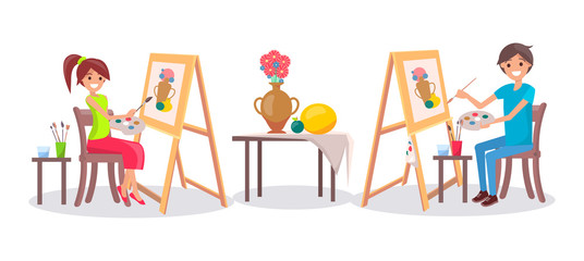 People Draw Still Life Picture of Vase and Fruits