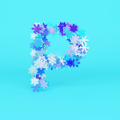 Winter alphabet letter P uppercase. Christmas font made of snowflakes. 3D render.