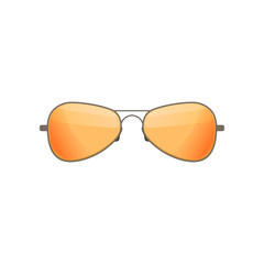 Aviator sunglasses with tinted orange lenses. Stylish accessory. Protective eyewear. Flat vector design