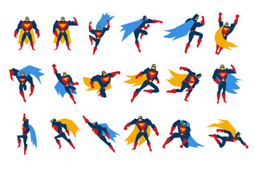 Superheroes characters set, man wearing colorful costumes on action vector Illustrations on a white background