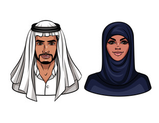 Vector colorful cartoon illustration of muslim couple. Portraits of young man and woman wearing traditional arabic clothes