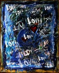 Dessin abstrait évoquant l'amour passionnel avec des inscriptions Love et des cœurs