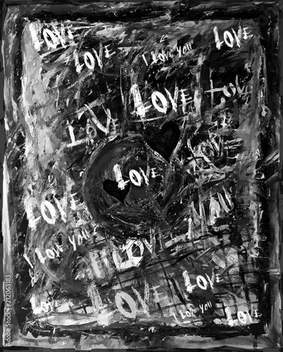 Dessin Abstrait En Noir Et Blanc évoquant Lamour Passionnel