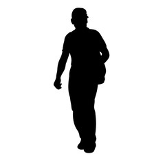 isolated silhouette man is walking, on a white background, alone