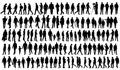 silhouette people go set Wall mural