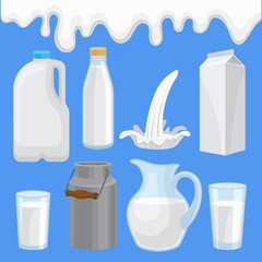 Milk product in various containers set, milk packaging of different shape vector Illustrations in flat style