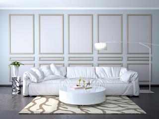 Interior design of the room with a sofa. 3d illustration