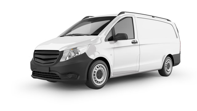 Delivery Van 3D Rendering Isolated on White