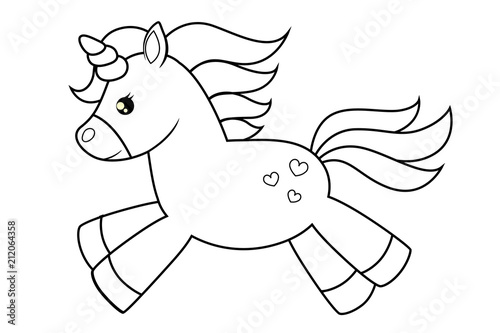 Cute Cartoon Unicorns Black And White Vector Illustration For