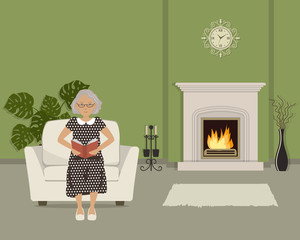 Elderly woman sitting in an armchair and reading a book. There is a fireplace in the green living room. The room also has a vase with decorative branches, wall clock and big flower. Vector image