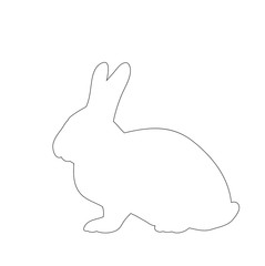 vector, isolated bunny outline on white background