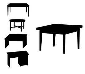 vector, isolated silhouette of a table, set