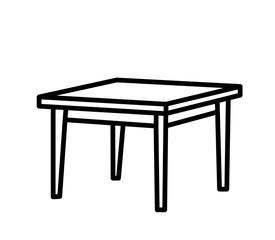 isolated sketch of a table, contours