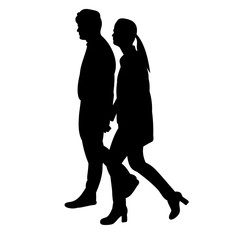 silhouette guy and girl go