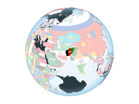 Afghanistan with flag on globe isolated