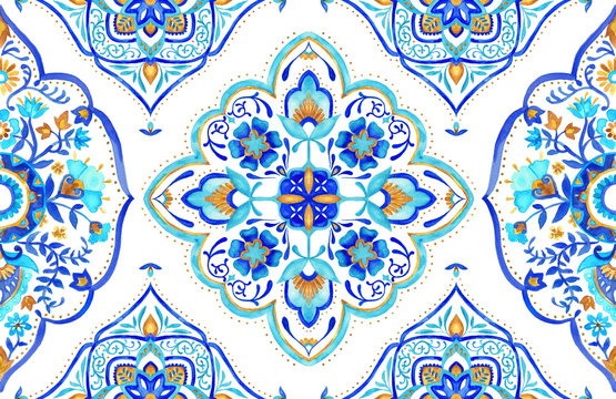 Moroccan medallion seamless tile - aqua, turquoise and gold