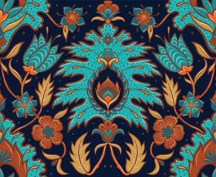 Bohemian Seamless Floral Tile - Turquoise and Ochre