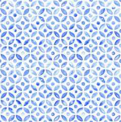 Moroccan simple seamless tile - navy watercolor