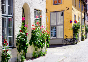Historical facades with flowers and bicycles on the house wall